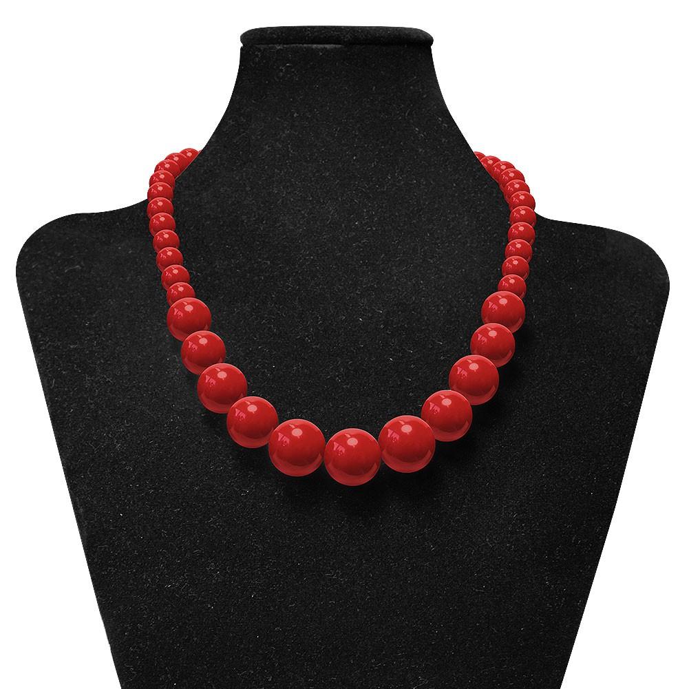 perlenkette perlen halskette hals ketten acryl rot schwarz. Black Bedroom Furniture Sets. Home Design Ideas