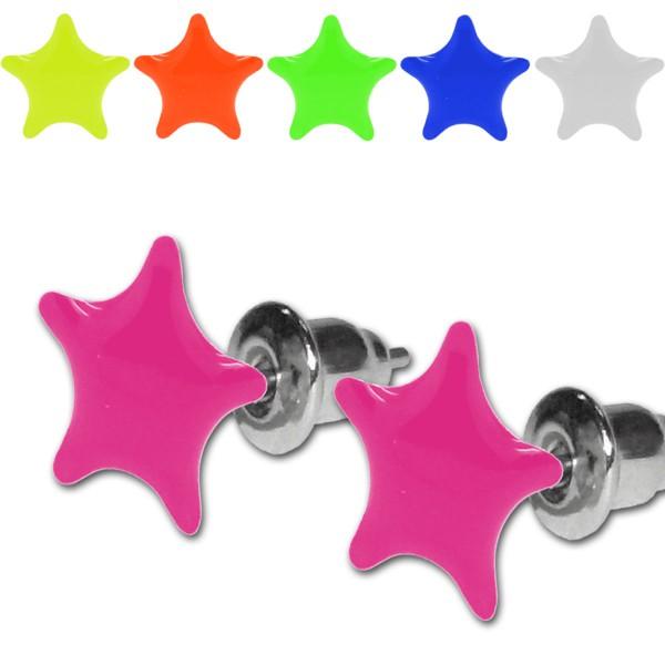 Modeschmuck ohrringe pink  1 Paar Ohrstecker Neon Farben UV Aktiv Stern Sterne pink gelb grün ...