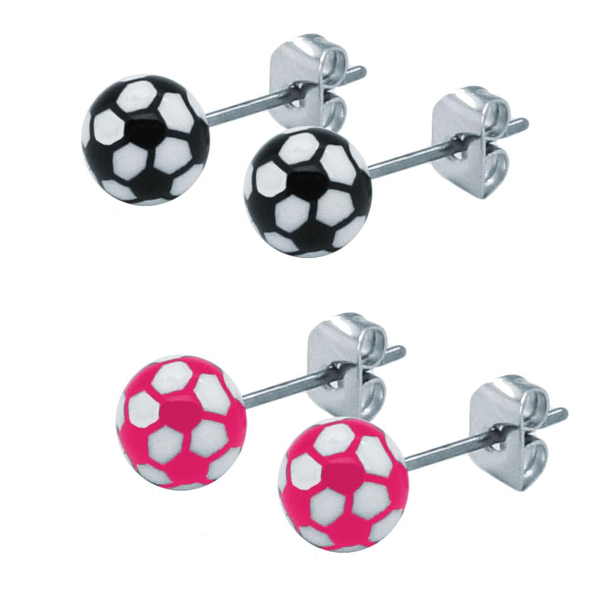 Modeschmuck ohrringe pink  2 Ohrstecker im Fussball / Handball Design Ball pink schwarz weiß ...