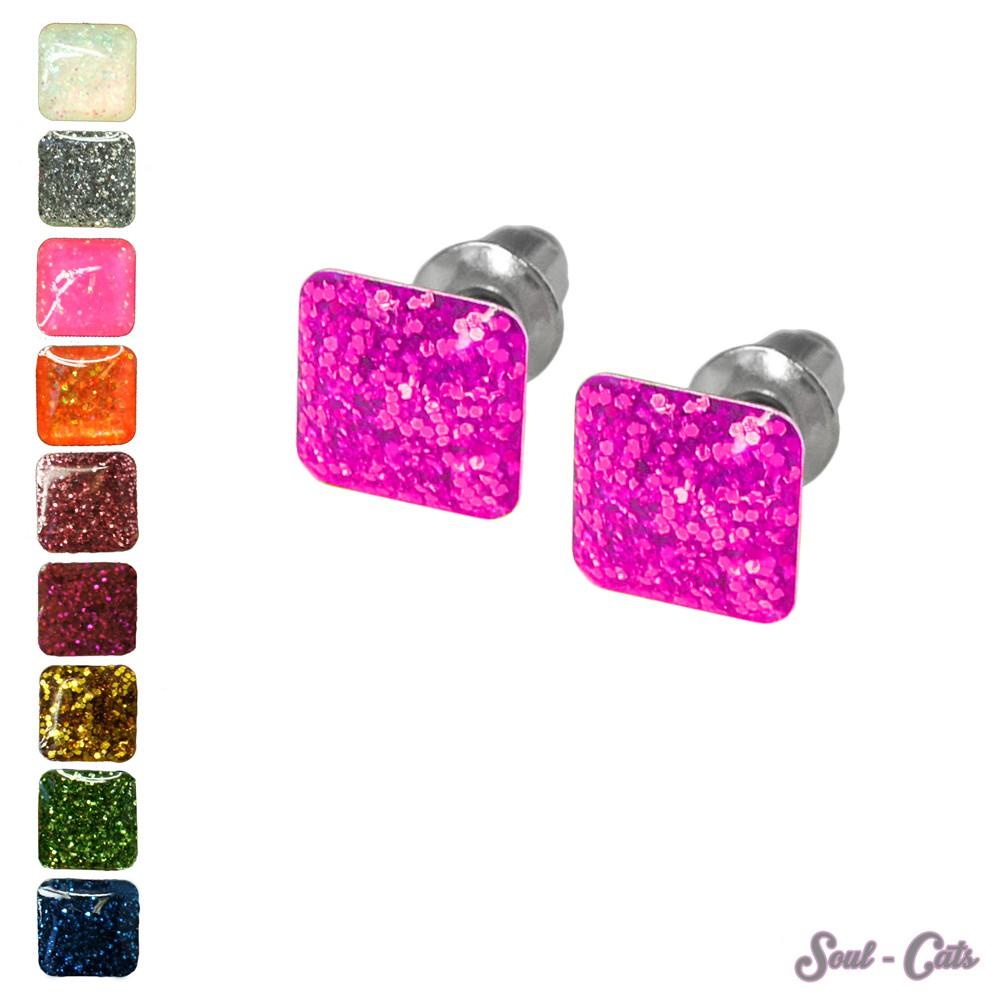 Modeschmuck ohrringe pink  1 Paar eckige Ohrstecker mit Glitzereffekt pink gold blau grün ...