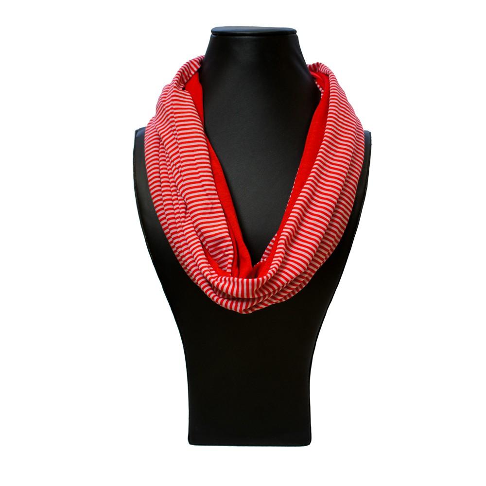 ein loopschal loop schal rundschal halstuch jersey streifen grau schwarz rot ebay. Black Bedroom Furniture Sets. Home Design Ideas